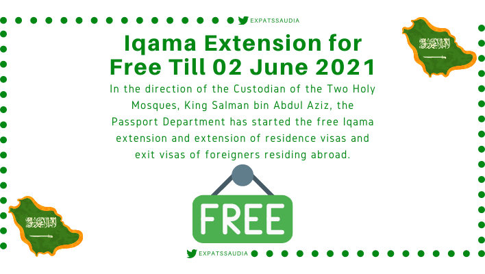 Iqama Extension for Free Till 02 June 2021