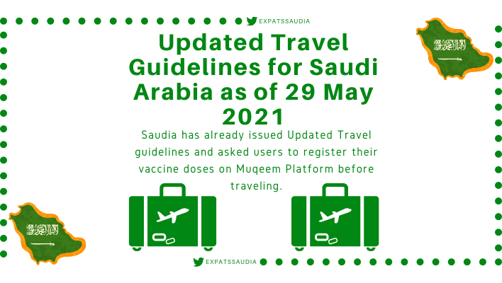 Updated Travel Guidelines for Saudi Arabia as of 29 May 2021