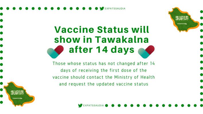 Vaccine Status will show in Tawakalna after 14 days