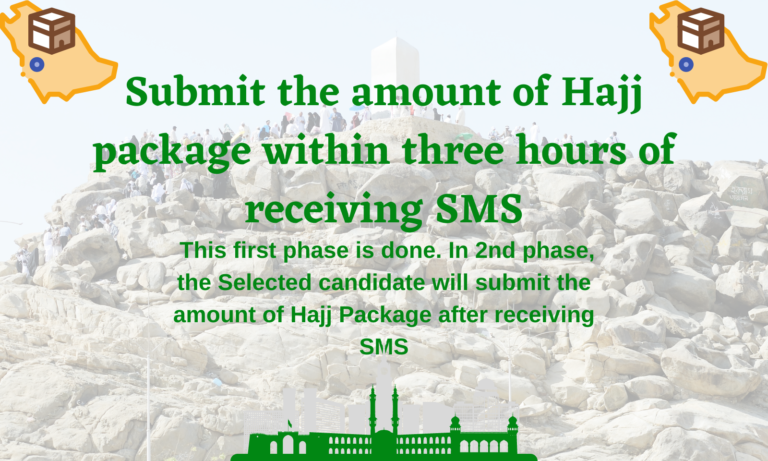 Submit the amount of Hajj package within three hours of receiving SMS