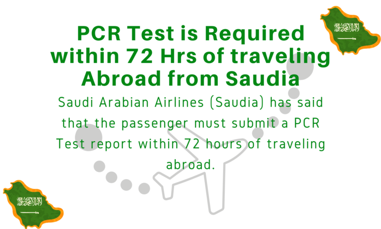 PCR Test is Required within 72 Hrs of traveling Abroad from Saudia