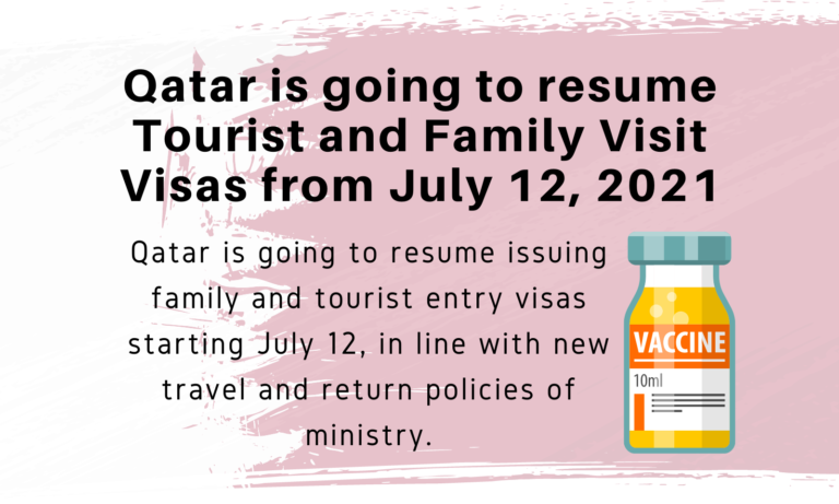 Qatar is going to resume Tourist and Family Visit Visas from July 12, 2021