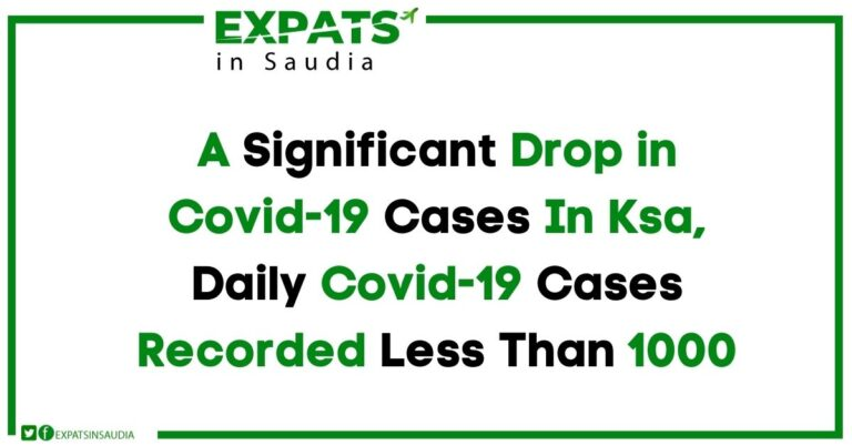 A Significant Drop in Covid-19 Cases In Ksa, Daily Covid-19 Cases Recorded Less Than 1000