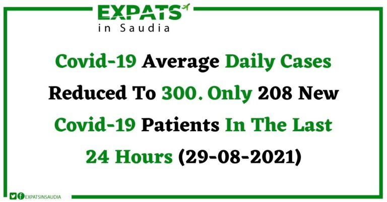 Covid-19 Average Daily Cases Reduced To 300. Only 208 New Covid-19 Cases Patients In The Last 24 Hours (29-08-2021)