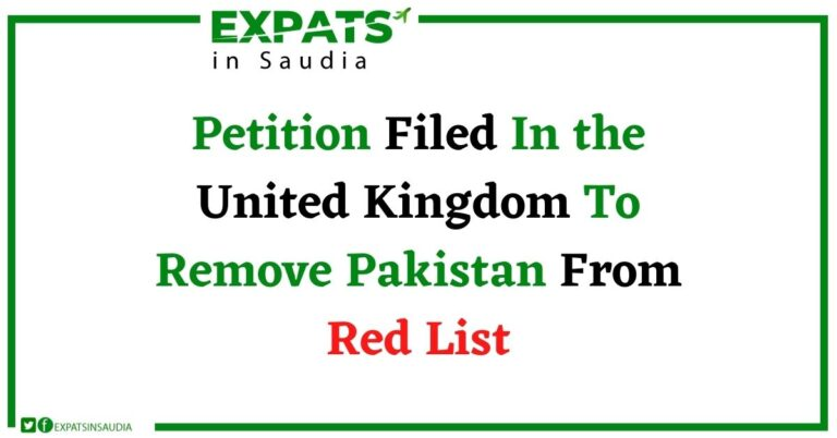 Petition Filed In the United Kingdom To Remove Pakistan From Red List